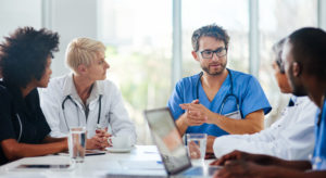Shot of a team of doctors having a meeting in a hospital