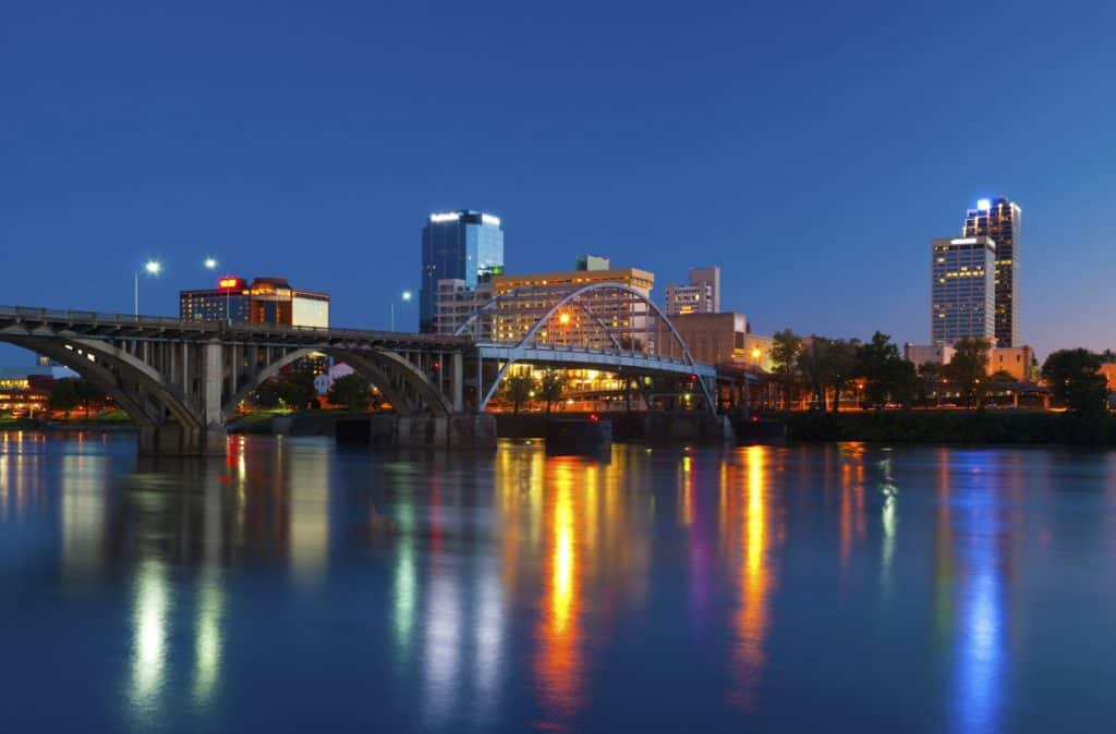 Little Rock Arkansas at night