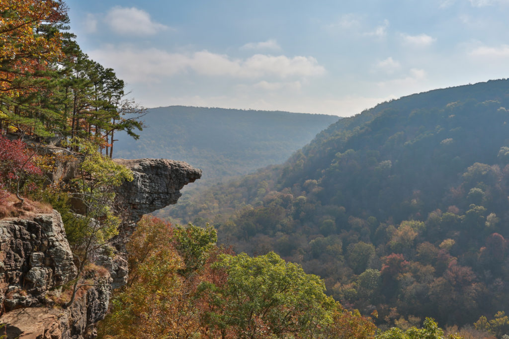 Overlook of an Ozark valley with fall foliage